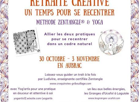 Retraite créative en Aubrac : méthode Zentangle®, yoga, bien-être ❈ 30 octobre-3 novembre 2019