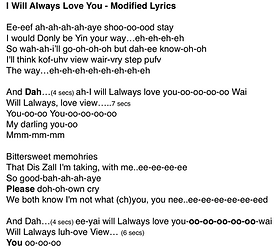 modified lyrics - i will always love you