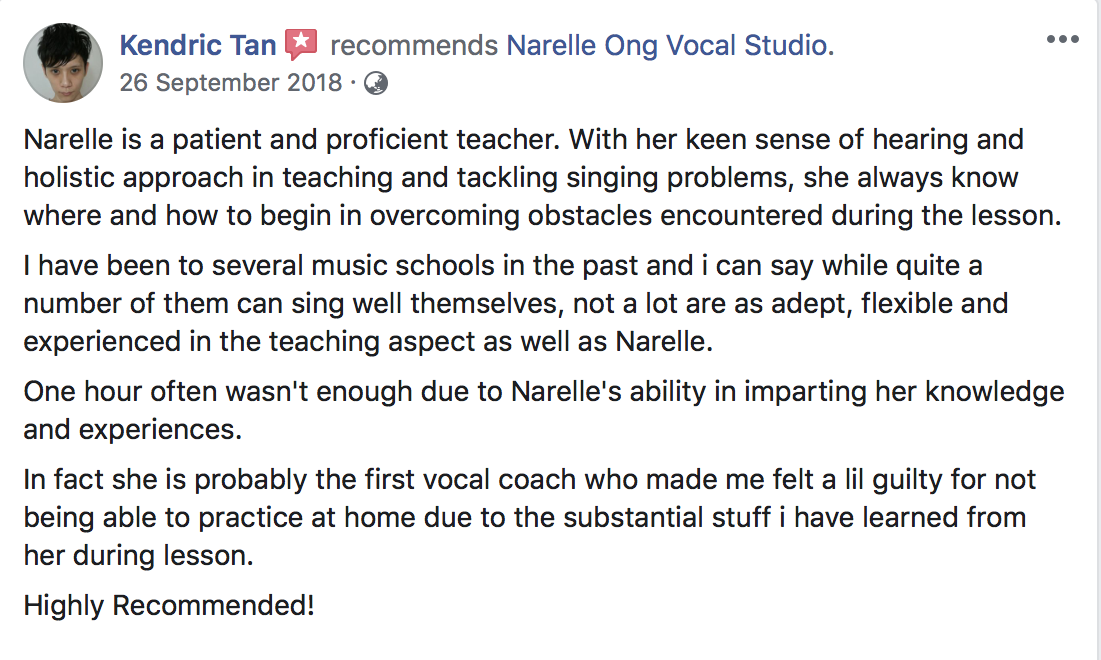 Recommends Vocal Coach Narelle in FB
