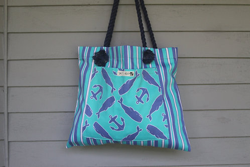 Medium Tote - Whales and Anchors on Stripes