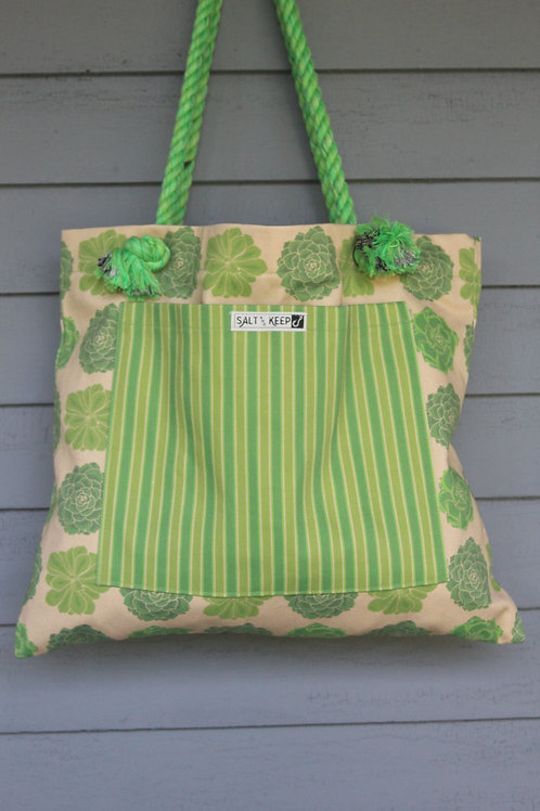 Large Tote - Stripe on Yellow Succulent