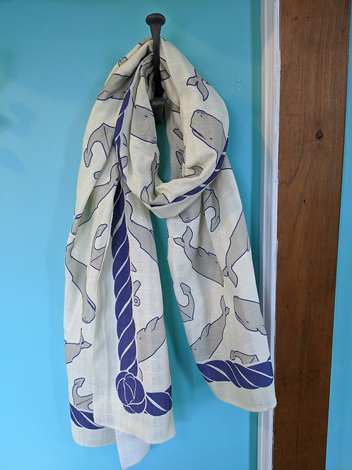 Organic Honeycomb Cotton Scarf -Anchors and Whales