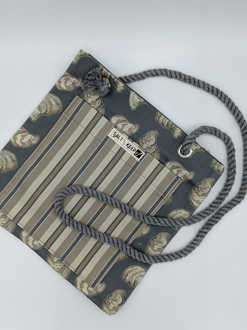 Small Tote -Stripes on Oysters (Crossbody)