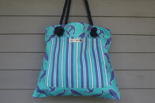 Medium Tote -Stripe on Whales and Anchors