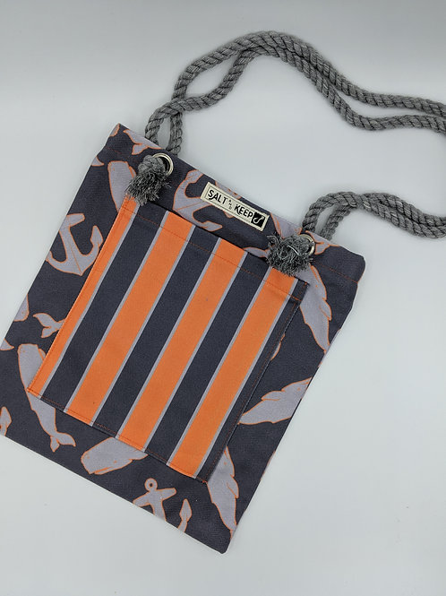 Small Tote -Orange and Charcoal Stripe on Whales and Anchors