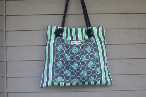 Medium Tote - Navy and Teal Scallops on Stripe