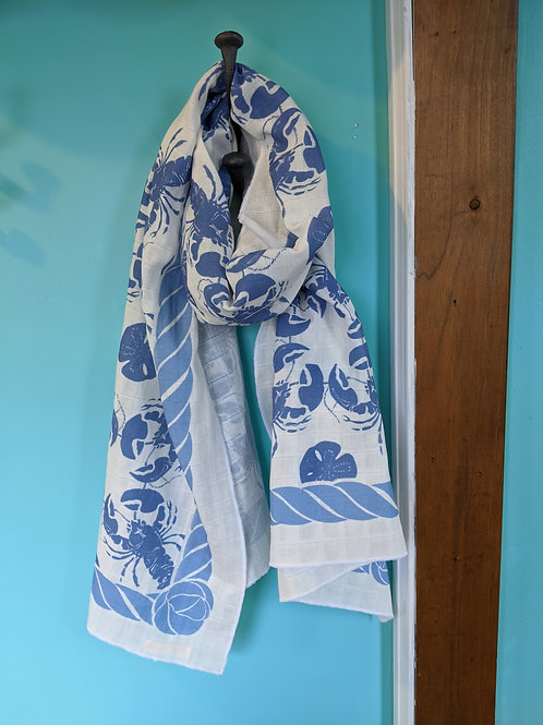 Organic Honeycomb Cotton Scarf - Blue Lobsters