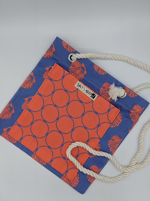 Small Tote - Scallop Drag on Red Blue Scallops