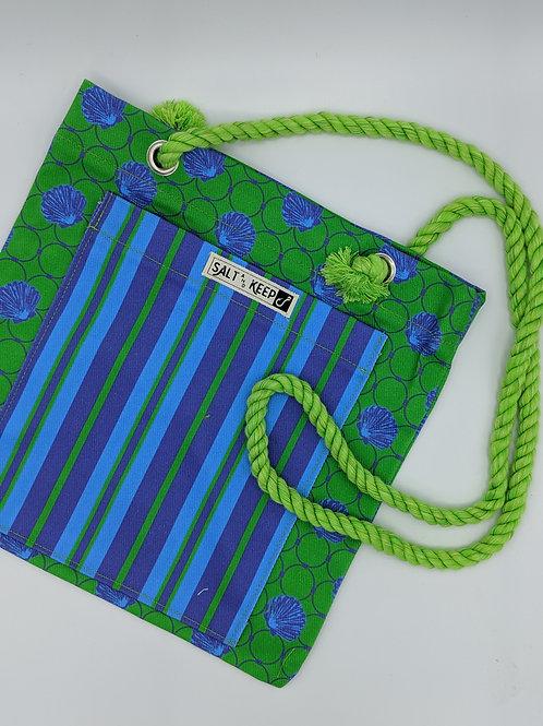 Small Tote - Stripe on Blue Green Scallop
