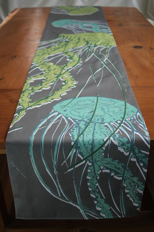 Green Jellyfish Long Table Runner