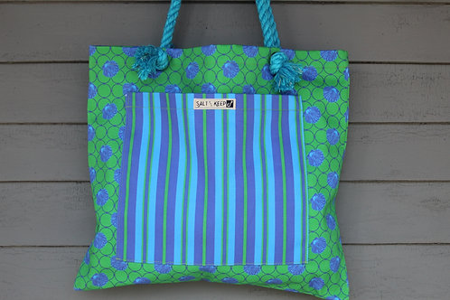 Large Tote - Blue Green Stripe on Blue Scallop