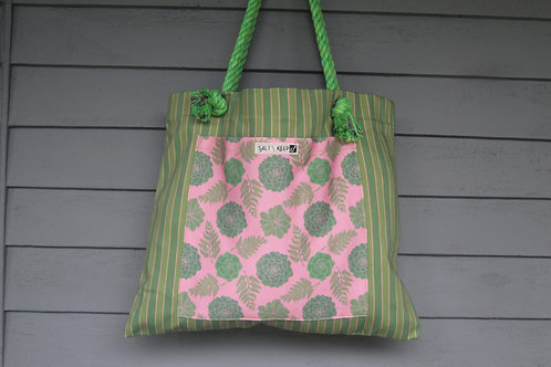 Medium Tote -Red Succulent on Stripe