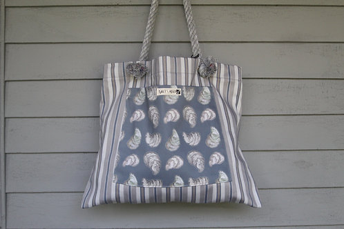 Large Tote - Oysters on Stripe