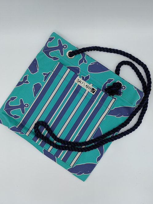 Small Tote - Navy Teal Stripe on Whales and Anchors