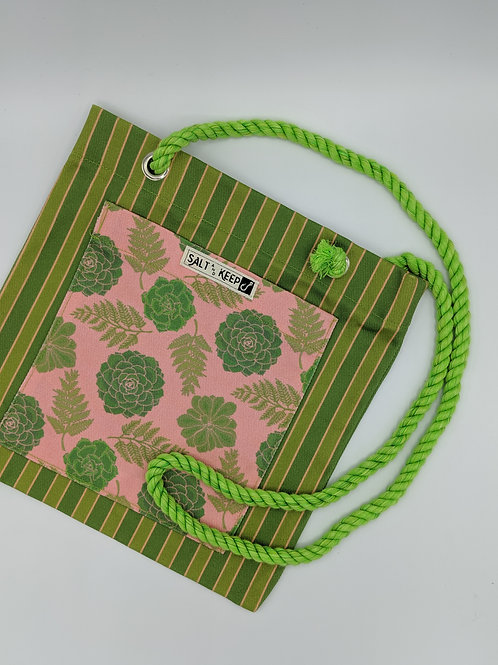 Small Tote -Red Succulents on Stripe