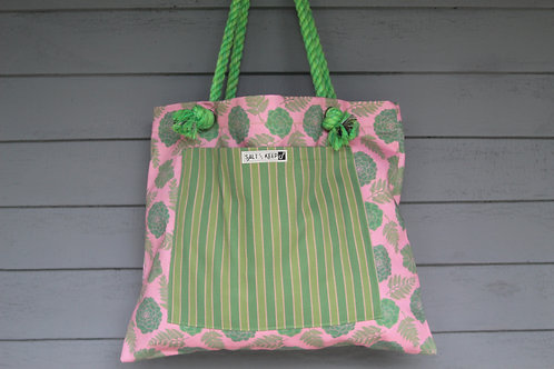 Medium Tote -Stripe on Red Succulent