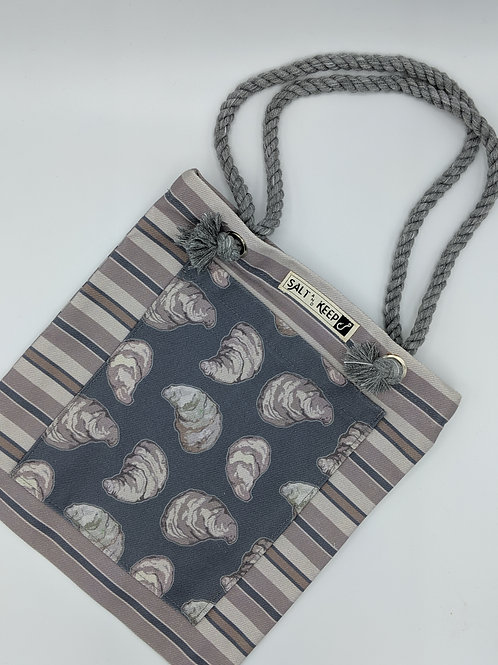 Small Tote -Oysters on Horizontal Stripe