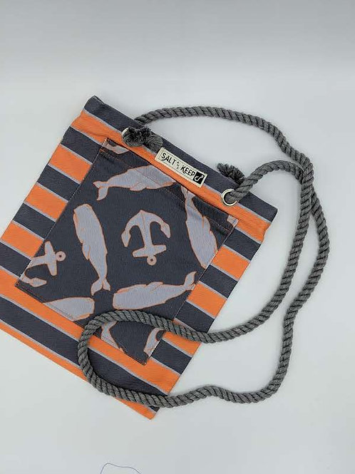 Small Tote - Gray Whales and Anchors on Horizontal Stripe