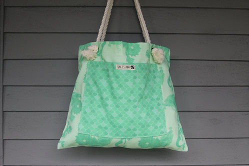 Medium Tote -Scales on Green Mermaid