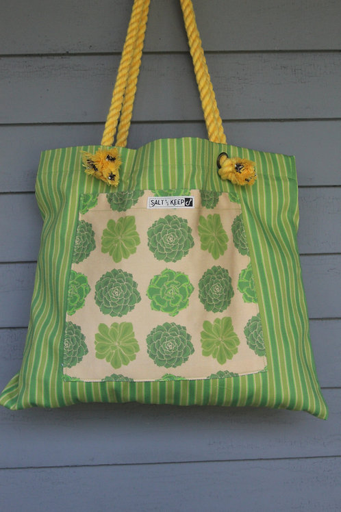 Large Tote -Yellow Succulents on Stripe