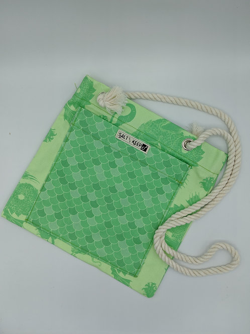 Small Tote - Scales on Green Mermaids
