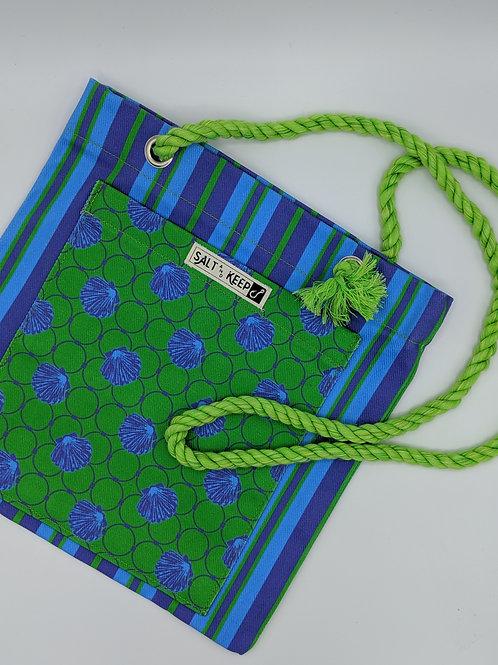 Small Tote -Green Blue Scallops