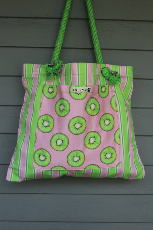 Large Tote - Kiwi on Stripe