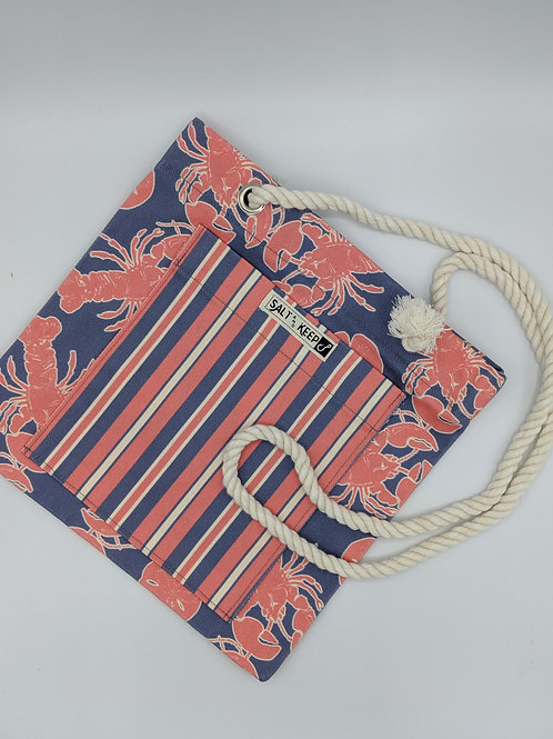 Small Tote - Stripes on Lobsters and Sand Dollars