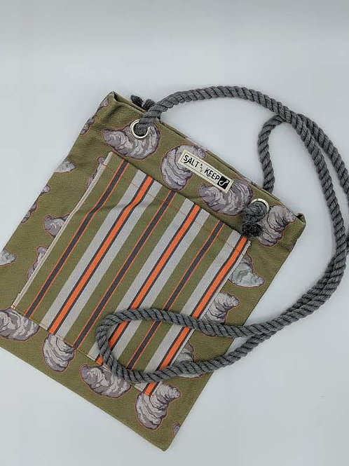 Small Tote - Olive and Orange Stripe on Oysters