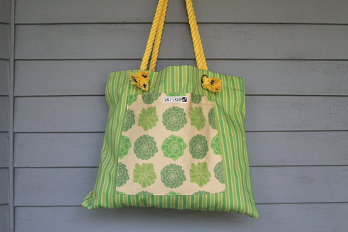 Medium Tote - Yellow Succulents on Stripe