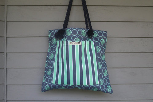 Medium Tote - Stripe on Navy and Teal Scallops