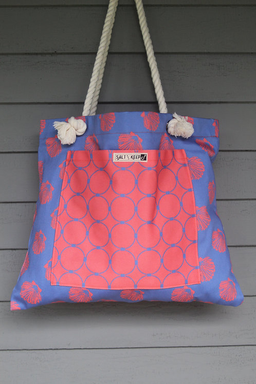 Large Tote - Scallop Drag on Red Blue Scallops