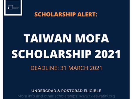 TAIWAN MOFA SCHOLARSHIP 2021