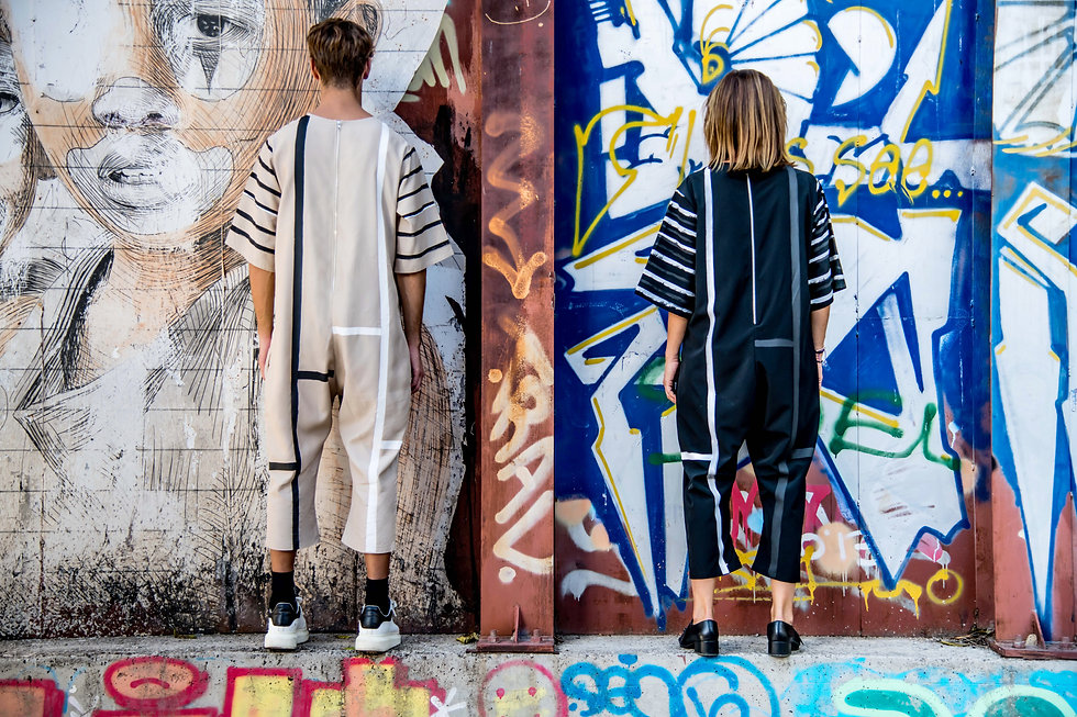 The NP Studio. Gender-neutral clothing ethically made. Unisex jumpsuits