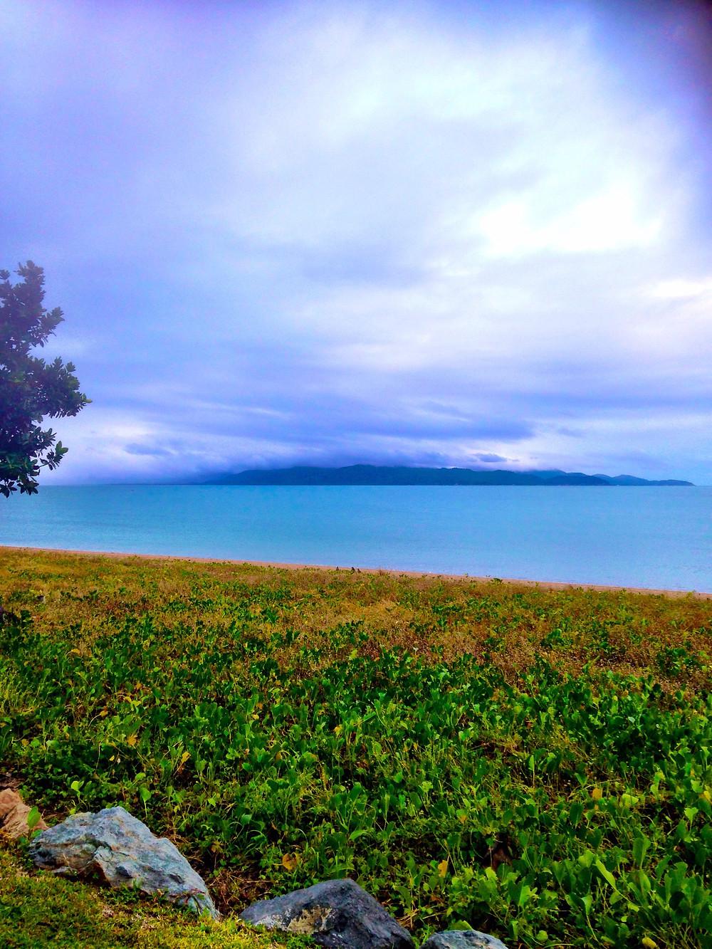 View of morning beach runs