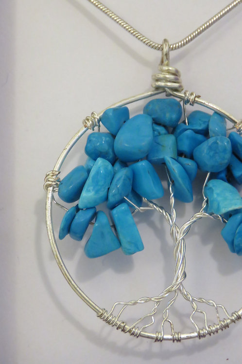 """Howlite """"Tree of Life"""" Silver Necklace"""