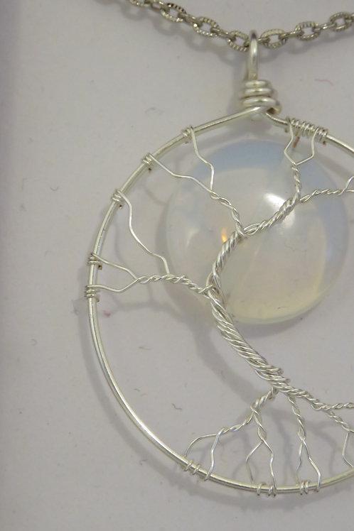 "Silver ""Tree & Moon"" Opal Necklace"