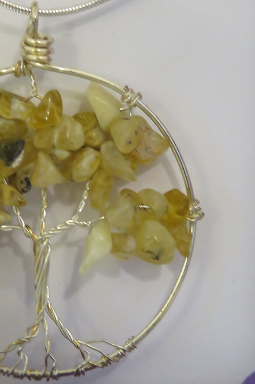"""Yellow Opal """"Tree of Life"""" Silver Necklace"""
