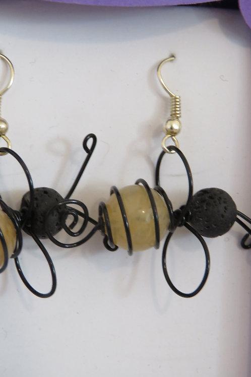 Honey Quartz & Lava Stone Bee Drop Earrings