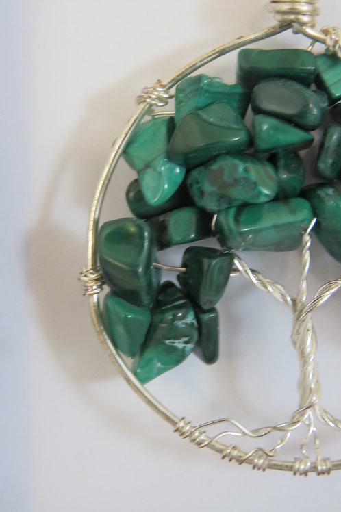"Malachite Silver ""Tree of Life"" Necklace"
