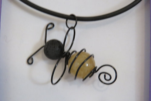 Honey Quartz & Lava Stone Bee Necklace