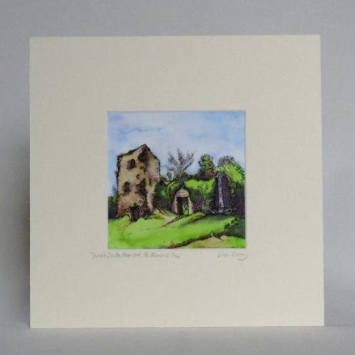 Dunollie Castle & Memorial Cross - Mounted Print