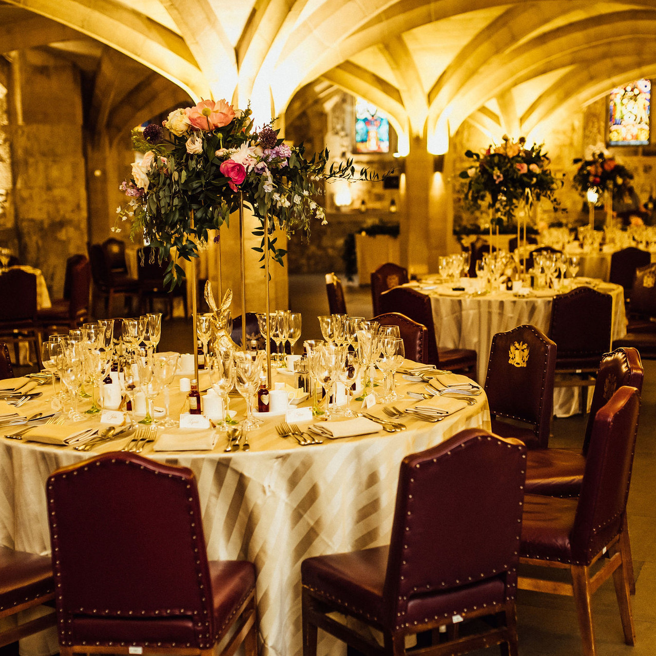 Tall tablecentres reception space decora