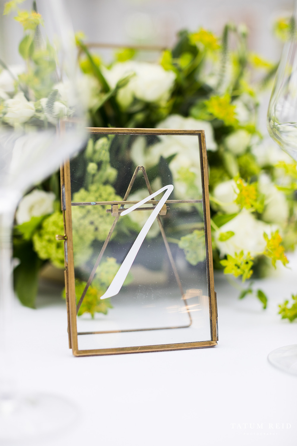 Luxury Brass And Glass Floating Table Numbers From Party Squared