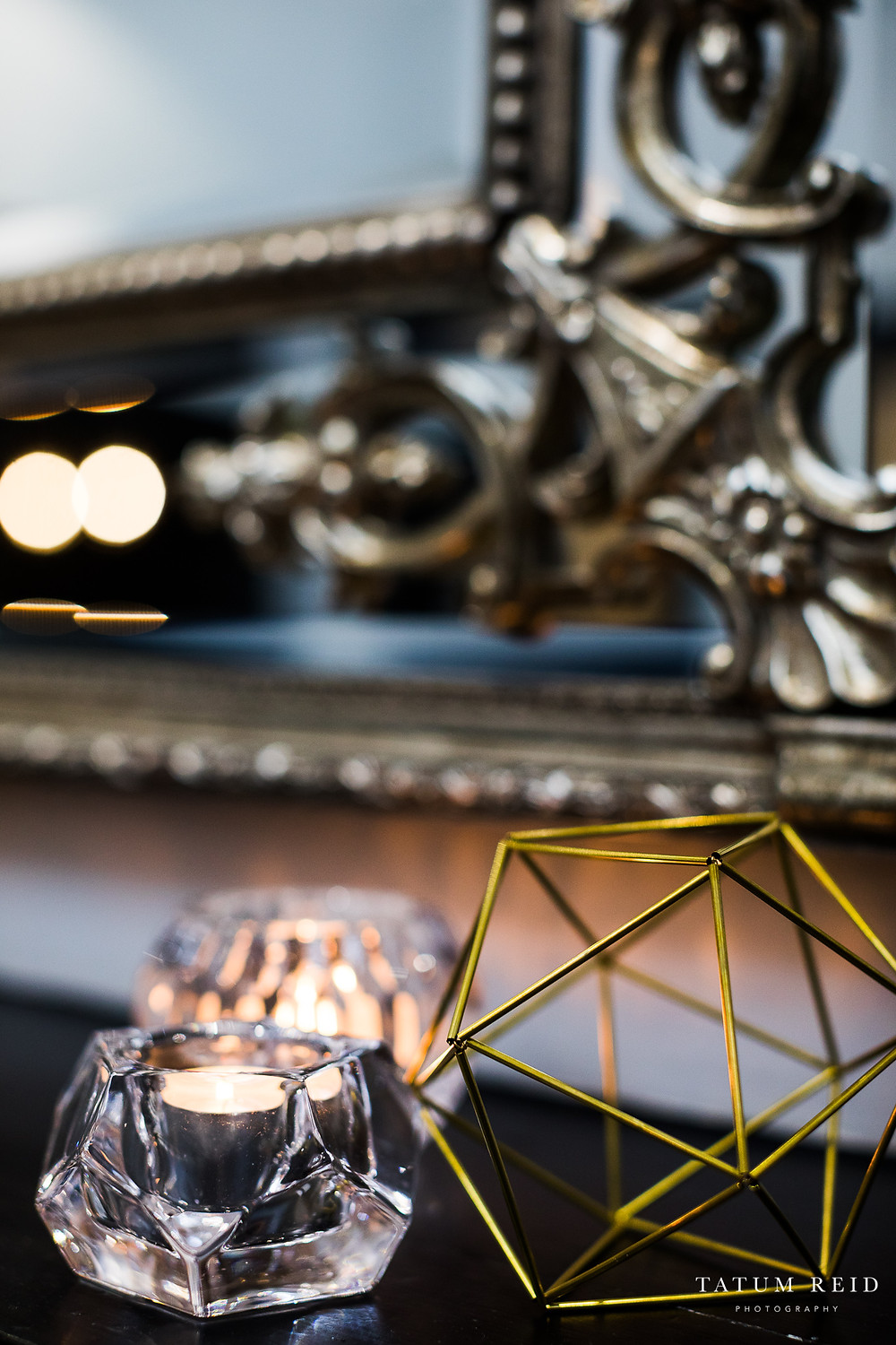 Himmeli And Geometric Tea-light Candle Holders On Mantle
