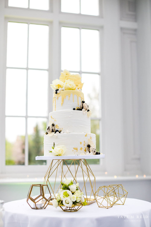 Geometric Wedding Cake Stand Styling