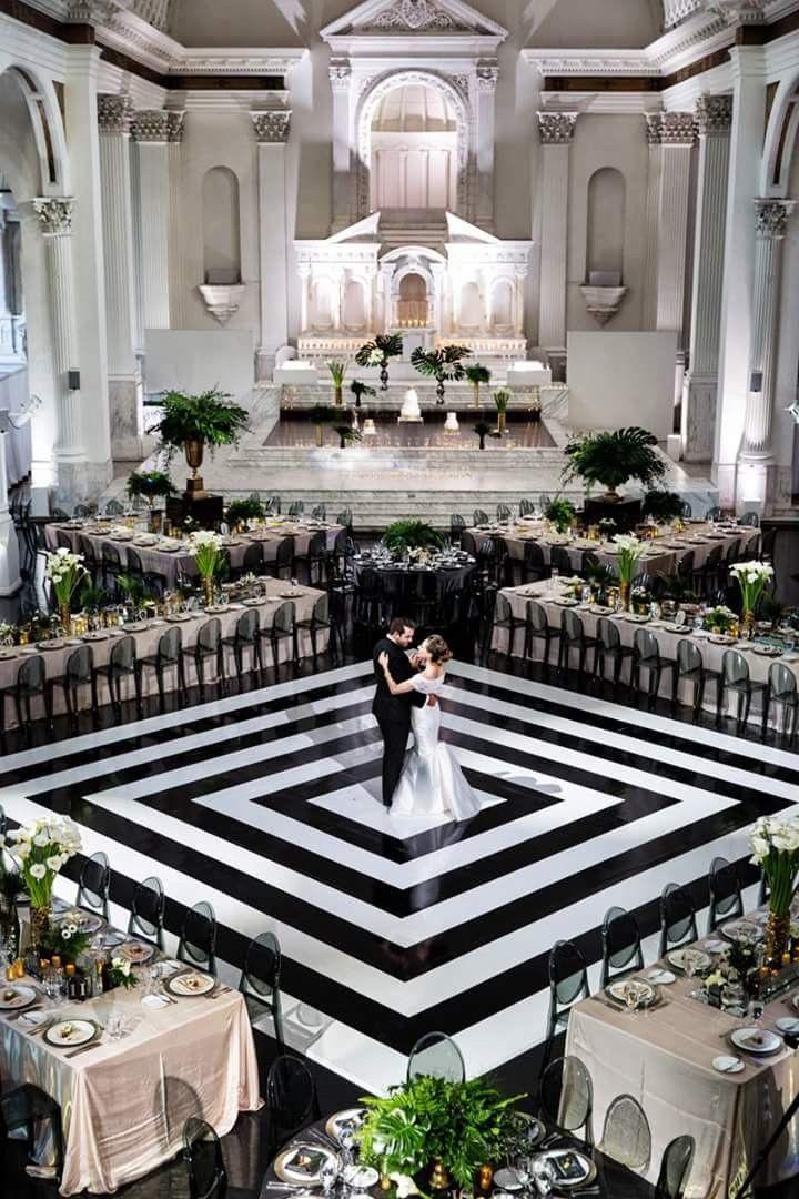 Dramatic monochrome wedding set up.
