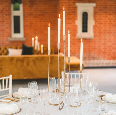 Tall wedding centrepiece five arm candle