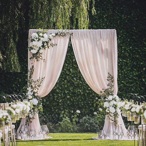 Draped Ceremony Arch and Lanterns