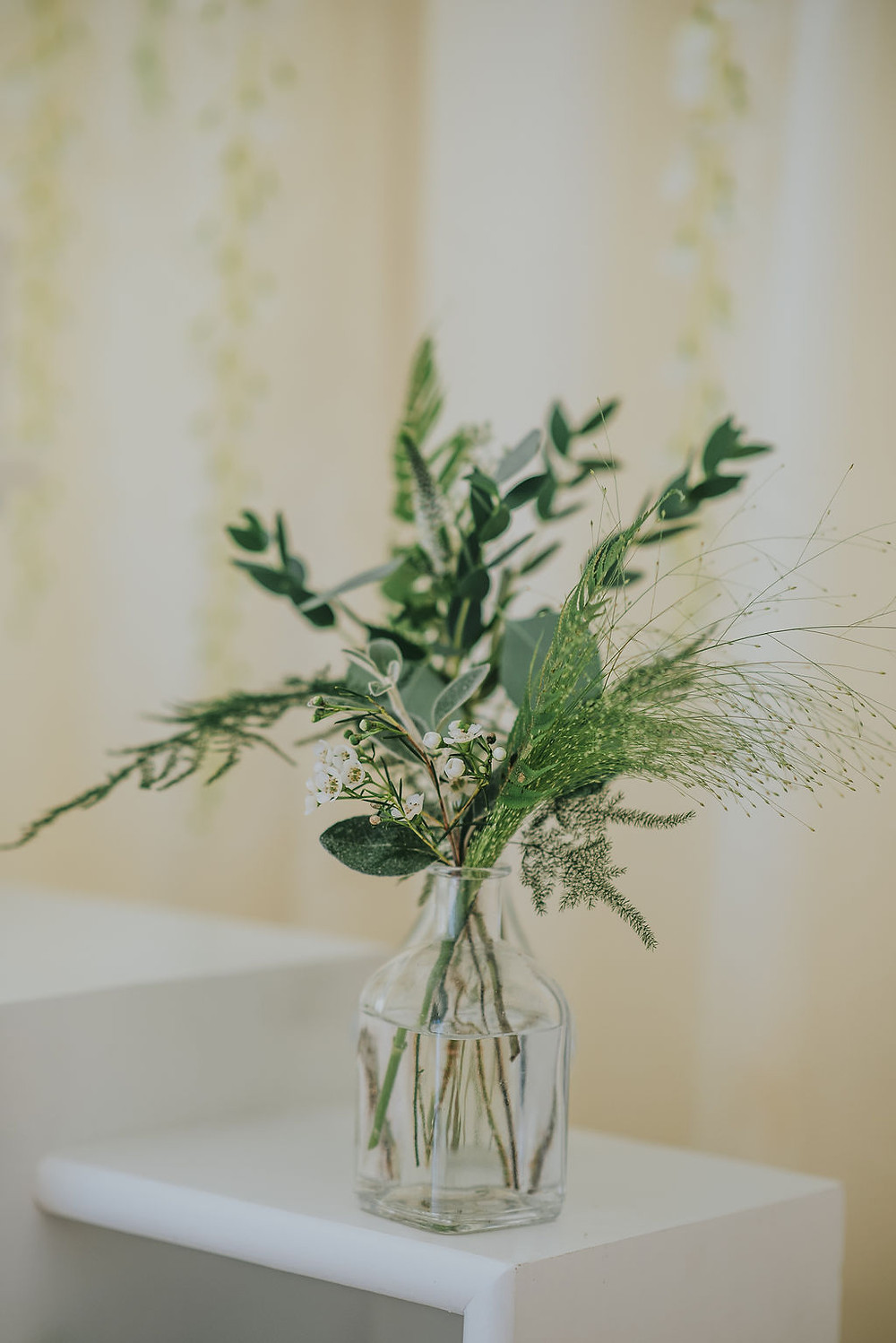 Bud Vases with Greenery and Wax Flower
